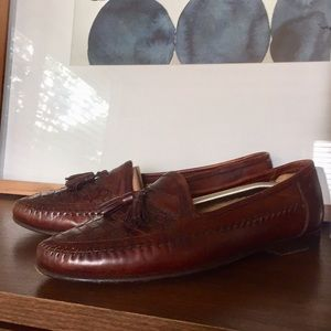 SANTONI Italian Leather Woven Tassel Loafers Shoes